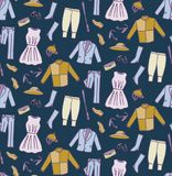 Derby Costume with dark blue background Seamless Pattern. Derby costume doodle seamless pattern with hat, dress, horse jockey outfit, suit, shoes Royalty Free Stock Image