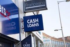 Derby, Derbyshire, UK: October 2018: Cash Loans sign H&T Pawnbrokers stock photography