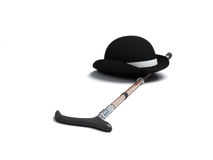 Derby hat and walking stick Royalty Free Stock Image