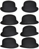Derby Hats Collage. Black Derby hat from eight angles stock image