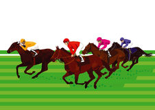 Derby and horse racing. At the finish Stock Photography