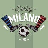 Derby Label Design milanais Bottes et boule Lin mince plat du football Images stock