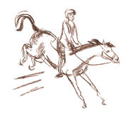 Derby, Reitersportpferd und Reiter Lizenzfreie Stockbilder