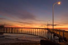 Derby Wharf, Derby, Westelijk Australië WA, Australië stock foto's