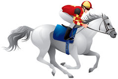 Derby white horse. Equestrian sport horse and rider in vector variant 5, Thoroughbred horse, gambling, The Sport of Kings Royalty Free Stock Images