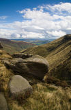 Derbyshire. On Sunday day looking down the vally to Edale from the top of Kinder Scout Stock Photo