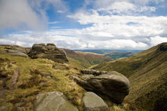 Derbyshire. On Sunday day looking down the vally to Edale from the top of Kinder Scout Stock Image