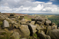 Derbyshire. On Sunday day looking down the vally to Edale from the top of Kinder Scout Royalty Free Stock Photography