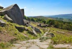 Derbyshire fait une pointe le bord Angleterre de Stanage image stock