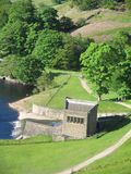 Derbyshire Lake 4. Dam along side calm lake Royalty Free Stock Photo