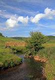 Derbyshire landscape. River, sky and fields in Derbyshire, England Stock Photo