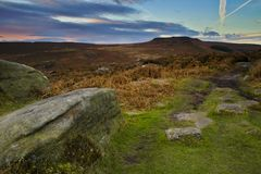 Derbyshire Peak District. Late afternoon picture of the craggy hills of the peak district Stock Photography