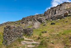 Derbyshire ragt Stanage-Rand England empor stockfoto