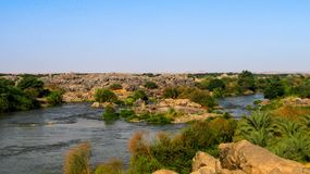 Derde Cataract van Nijl dichtbij Tombos de Soedan royalty-vrije stock fotografie