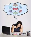 Dereaming at website scheme. Sad businesswoman in office dereaming at website scheme Stock Images