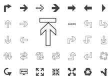 Derecho hasta el icono de la flecha del extremo Iconos del ejemplo de la flecha fijados fotos de archivo libres de regalías