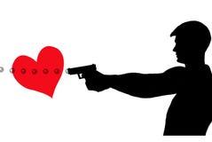 Derecho a través del corazón ilustración del vector