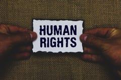 Derechos humanos del texto de la escritura El concepto que significa normas de los estándares de los principios morales de una ge fotografía de archivo libre de regalías