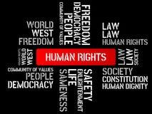 DERECHOS HUMANOS - la imagen con palabras se asoció a la COMUNIDAD DE VALORES, palabra, imagen, ejemplo del tema Foto de archivo