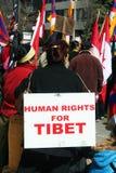 Derechos humanos para Tíbet Imágenes de archivo libres de regalías