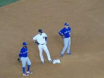 Derek Jeter auf Basis am Yankee Stadium stockbild