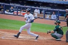 Derek Jeter Batting en el Yankee Stadium Fotografía de archivo libre de regalías