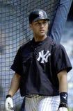 Derek Jeter of the New York Yankees. Derek Jeter waiting by the batting cage for his swings.Yankee Stadium, Bronx New York Stock Photo
