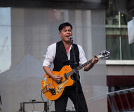 Derek Miller performing at Yonge Dundas Square in Toronto Stock Photos