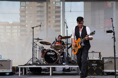Derek Miller performing at Yonge Dundas Square in Toronto Stock Image