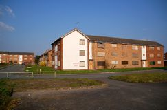 Derelict Apartments. Derelict and abandoned apartment blocks waiting to be knocked down to make way for new housing Stock Photography