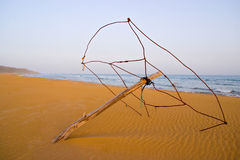 Derelict Beach Umbrella at Golden Turtle Beach in Karpasia, Isla Stock Photo