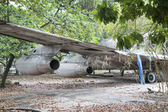 Derelict Boeing 707 aircraft in Vietnam. Showing the mid section and port side engines. One time Pan Am and Vietnam Airlines and cafe Royalty Free Stock Images