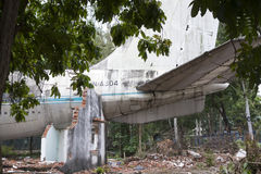 Derelict Boeing 707 aircraft in Vietnam. Showing the tail section. One time Pan Am and Vietnam Airlines and cafe Stock Images