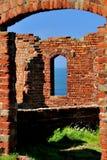 Derelict brickwork, Porthgain, Wales Stock Image
