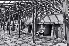 Derelict Brickyard. Black and white shot of a derelict brickyard in Silkeborg, Denmark stock photos