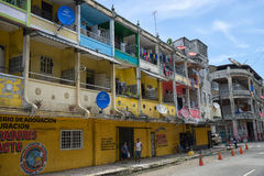 Derelict buildings in Colon Panama. June 9, 2016 Colon, Panama: the economic decline of the port town is visible on the architecture stock images