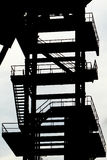Derelict coal mining tower. silouette Stock Photos
