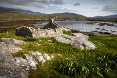 Derelict cottage by a loch. Derelict crofters cottage by a loch Royalty Free Stock Photos