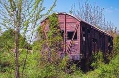 Derelict de madeira do vagão railway do vintage imagem de stock