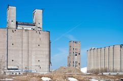 Derelict Grain Elevators and Silos in Minneapolis Royalty Free Stock Images