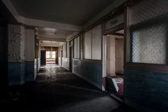 Derelict Hallway & Offices - Abandoned Stambaugh Building - Youngstown, Ohio royalty free stock images