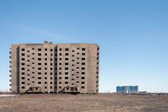 Derelict high-rise building in Norilsk. Royalty Free Stock Images