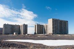 Derelict high-rise building in Norilsk. Stock Images