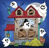 Derelict house and ghosts theme 1. Eps10 vector illustration stock illustration