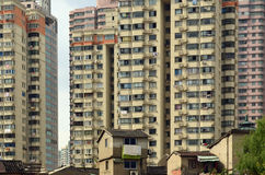 Derelict Houses and Modern Skyscrapers, Shanghai, China Stock Images