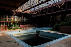 Derelict Indoor Swimming Pool - Abandoned Sheraton Motor Inn - Pennsylvania stock photo