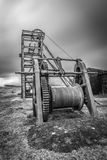 Derelict Magpie mine, abandoned lead mine in Peak District UK Stock Photo