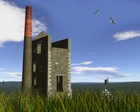 Derelict Mine Engine Houses in a Cornish Landscape. 3D Digital render of two derelict tin or copper mine engine houses built from granite blocks in a Cornish vector illustration