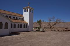 Derelict mining town in the Atacama Desert, Chile. Church in the derelict nitrate mining town of Pedro de Valdivia in the Atacama Desert of northern Chile Stock Images