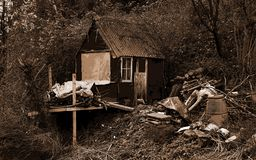 Derelict Old Shed with sepia post production effects royalty free stock photography